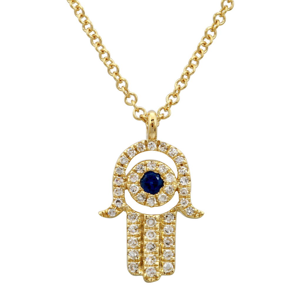 14k Yellow Gold Diamond Sapphire Hamsa Pendant Necklace (1/10 cttw, H-I, I1-I2), 16+2""