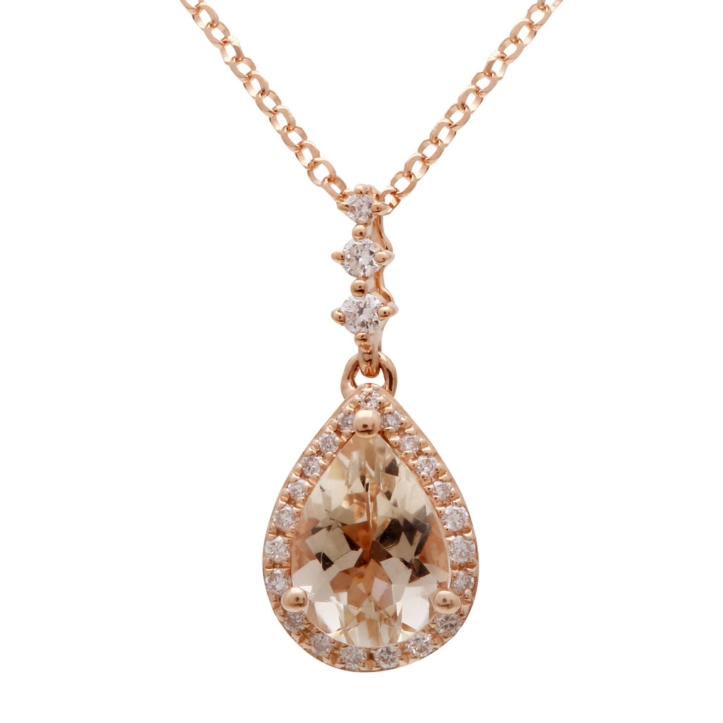 14k Rose Gold Diamond Morganite Pear Drop Pendant Necklace (0.08 cttw, H Color, I-I3 Clarity), 16""