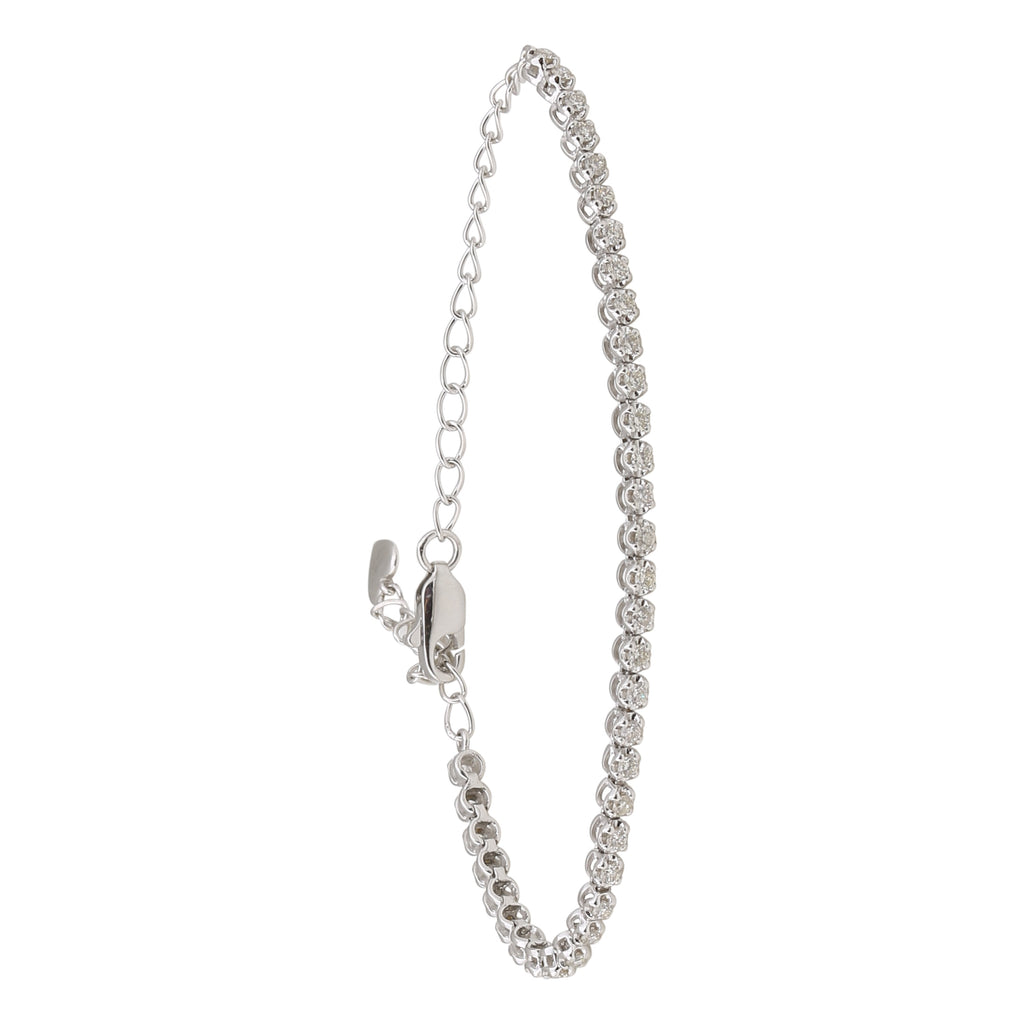 "REEMARK™ 18k White Gold 2mm Diamond Strand Tennis Bracelet (1/2 cttw, I-J Color, I1-I2 Clarity), 5+2"" Extender"