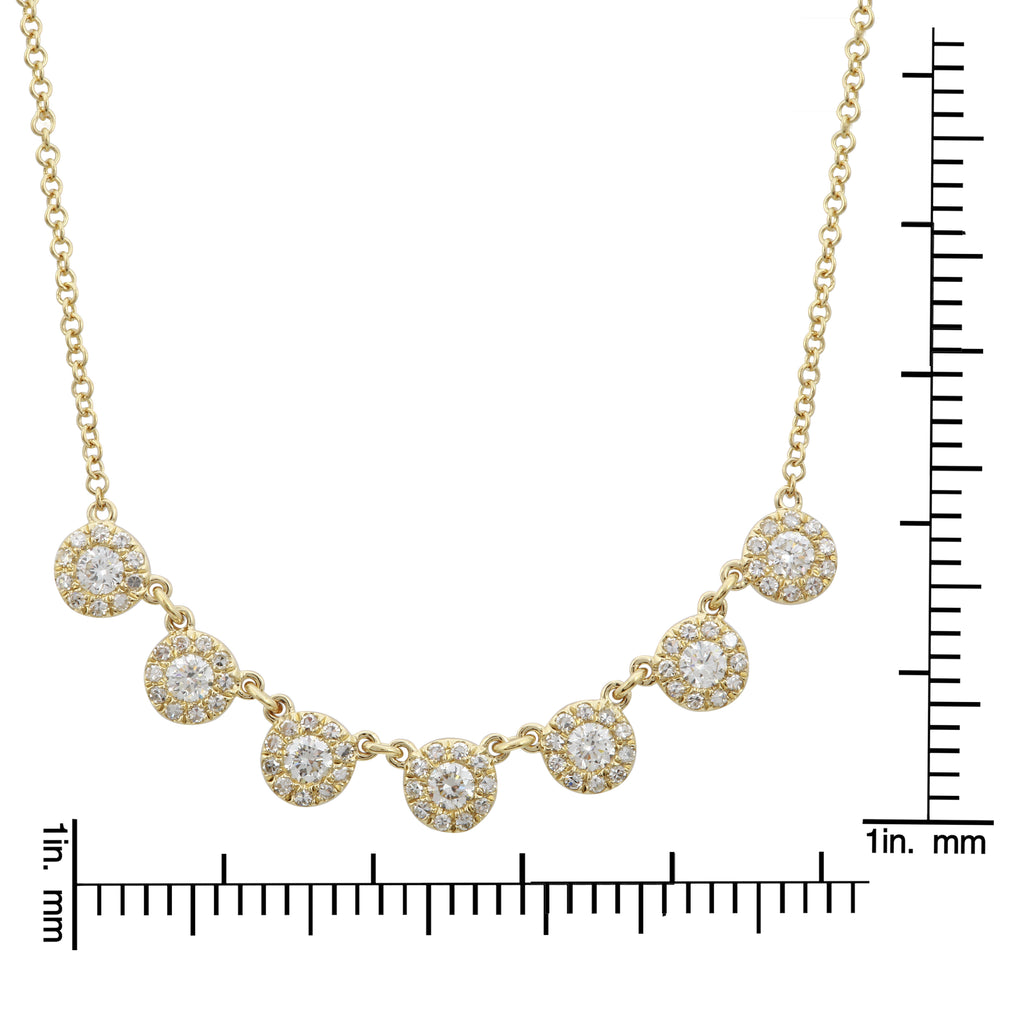 14k Yellow Gold Round Diamond Strand Pendant Necklace (3/8 cttw), 16+2""