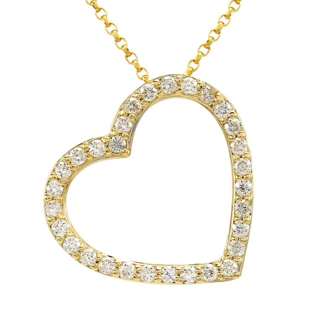 14k Yellow Gold Diamond Pave Fallen Heart Pendant Necklace (1/3 cttw), 16+2""