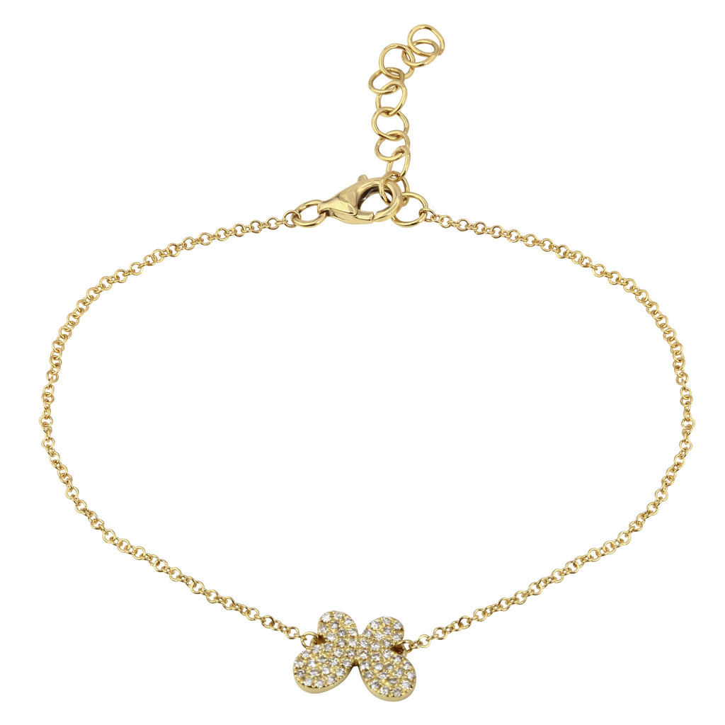 14k Yellow Gold Diamond Pave Butterfly Charm Bracelet (1/8 cttw), 6+1""