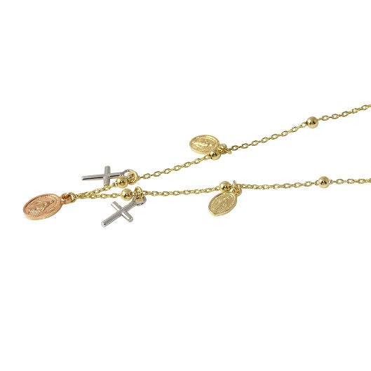 14k Tri-Color Gold Italian Religious Necklace, 18""