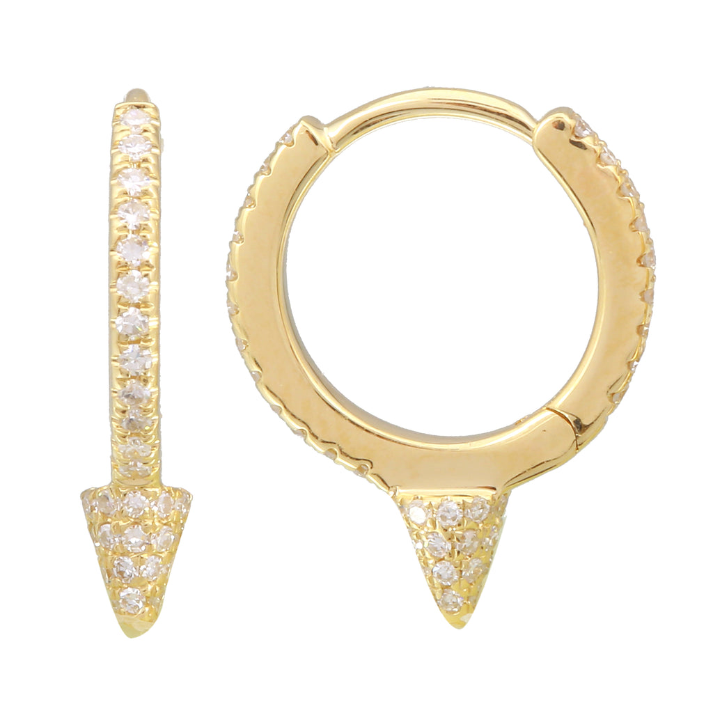 14k Yellow Gold Diamond Pave Drop Spike Hoop Earrings (1/4 cttw, H-I Color, I1-I2 Clarity), 8mm Diameter