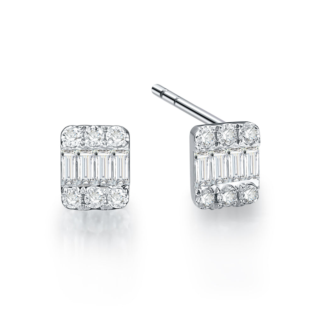 REEMARK™ 18k White Gold Diamond Channel Stud Earrings (1/10 cttw, I-J, I1-I2)