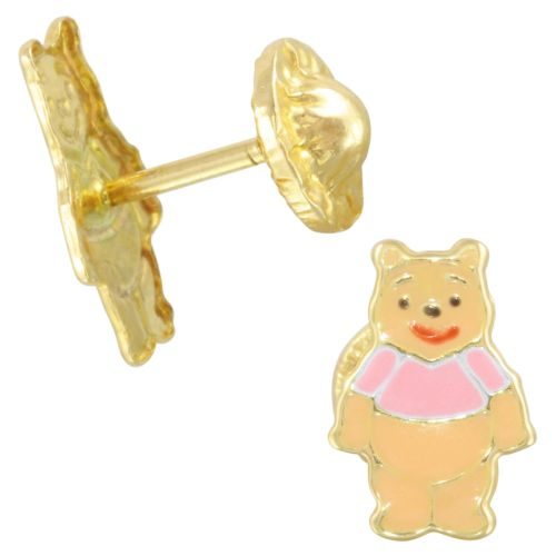 14k Yellow Gold Pink Honey Bear Baby Stud Earrings