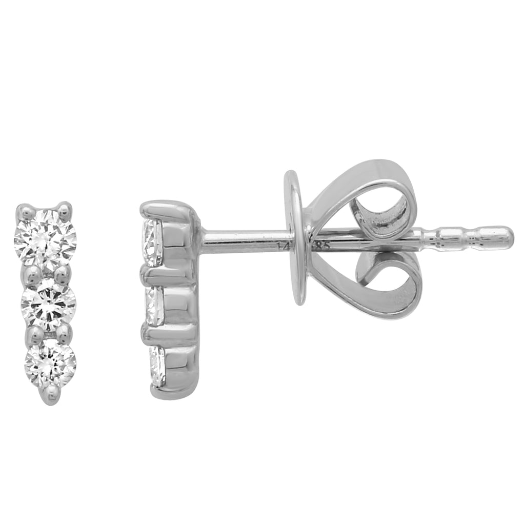 14k White Gold Diamond Trio Pin Stud Earrings (1/5 cttw, J-K Color, SI2-I1 Clarity)