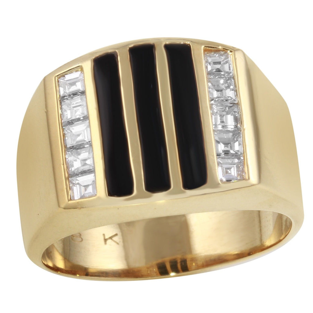 Men's 18k Yellow Gold Diamond Black Onyx Ring