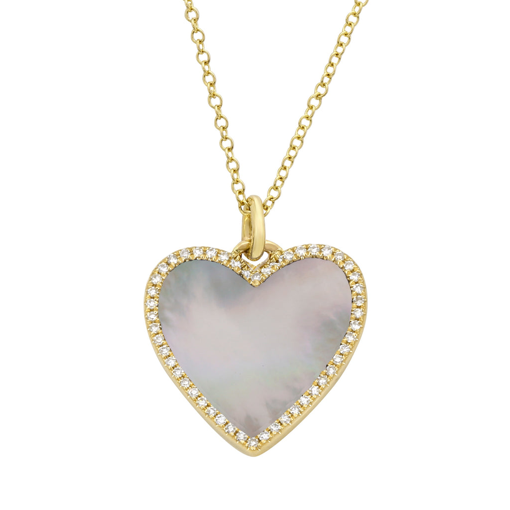 14k Yellow Gold Diamond Mother of Pearl Heart Pendant Necklace (1/10 carat), 16-18""