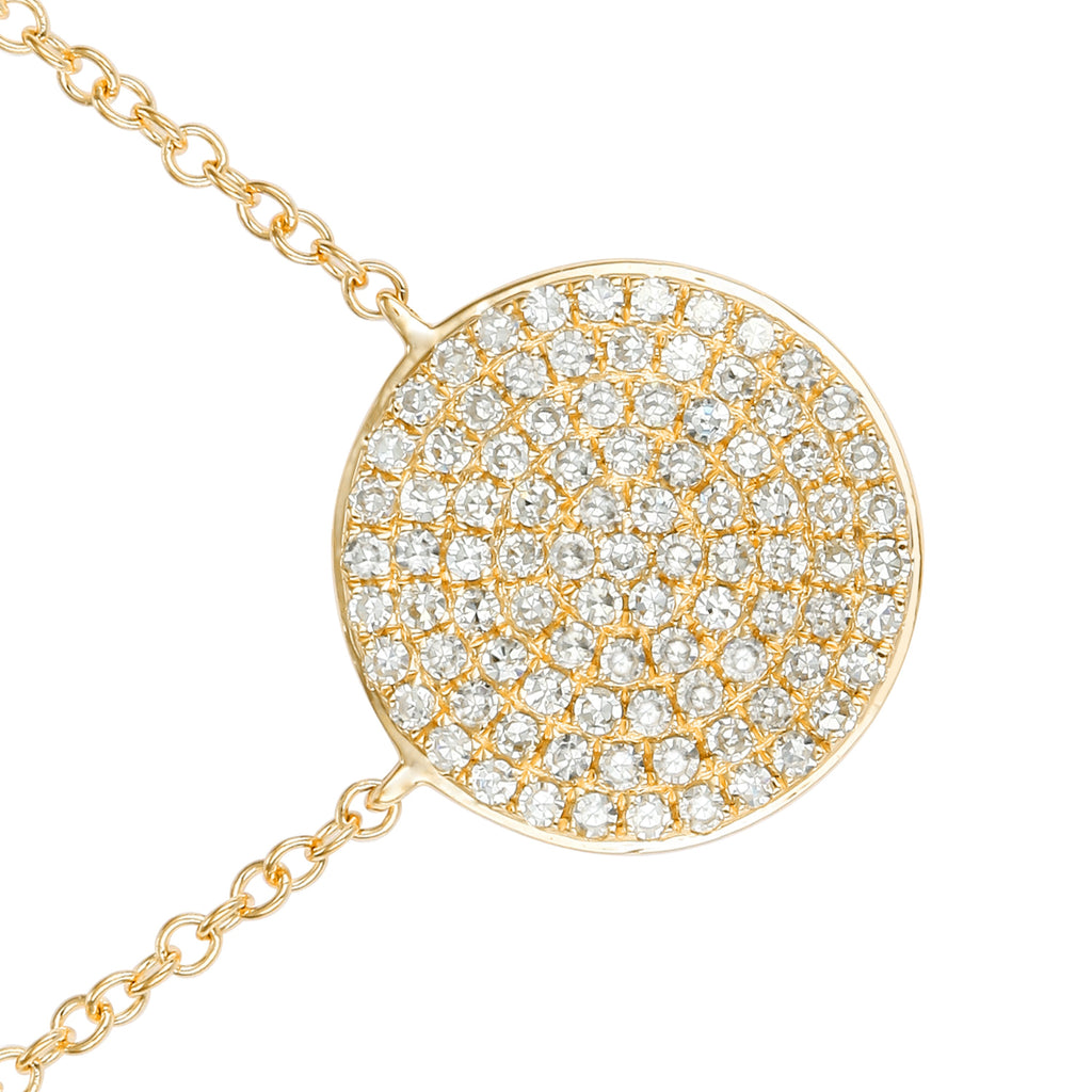 "14k Yellow Gold Diamond Pave Suspended Disc Pendant Necklace (1/4 cttw, H-I Color, I1-I2 Clarity), 16+2"" Extender"