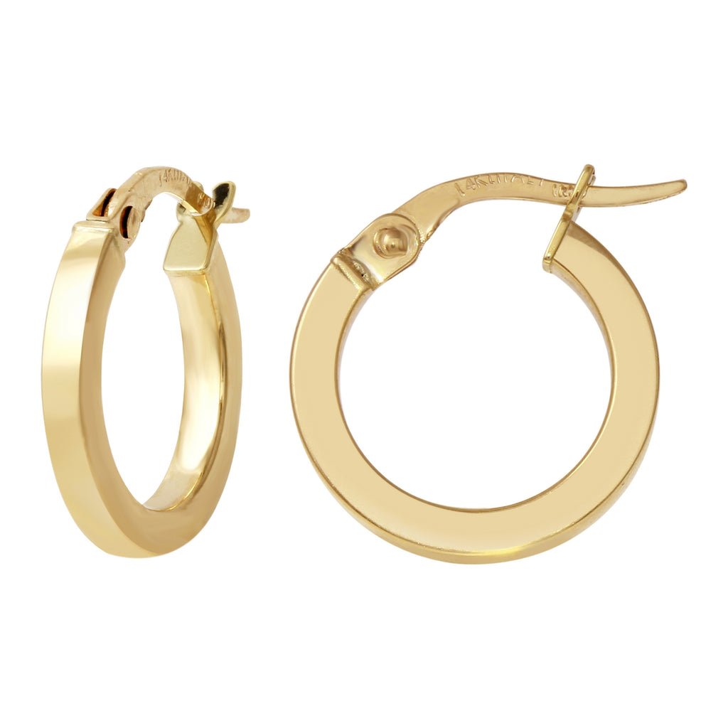 14k Yellow Gold Italian Square Tube Hoop Earrings (10.5mm Diameter)
