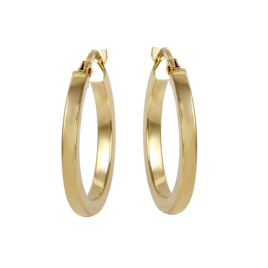 14k Yellow Gold Italian Square Tube Hoop Earrings (15mm Diameter)
