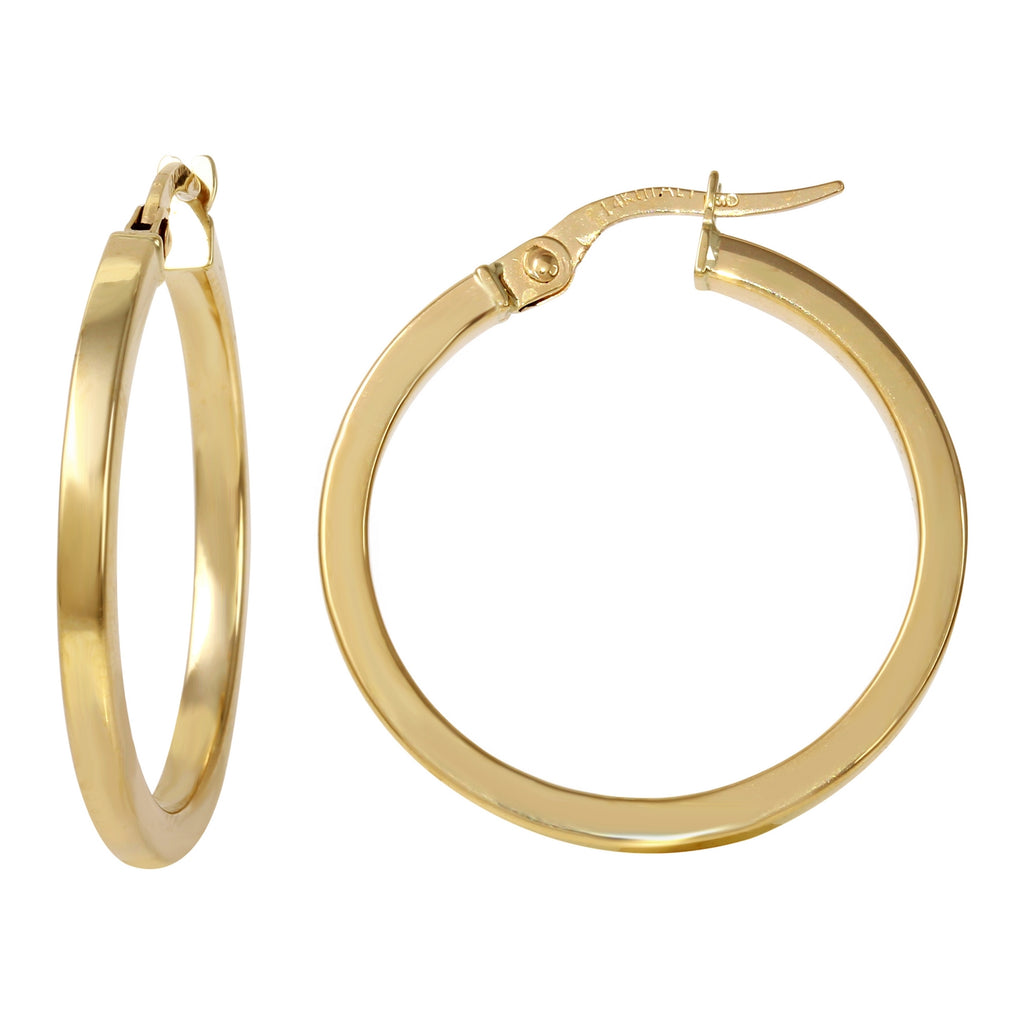 14k Yellow Gold Italian Square Tube Hoop Earrings (20mm Diameter)