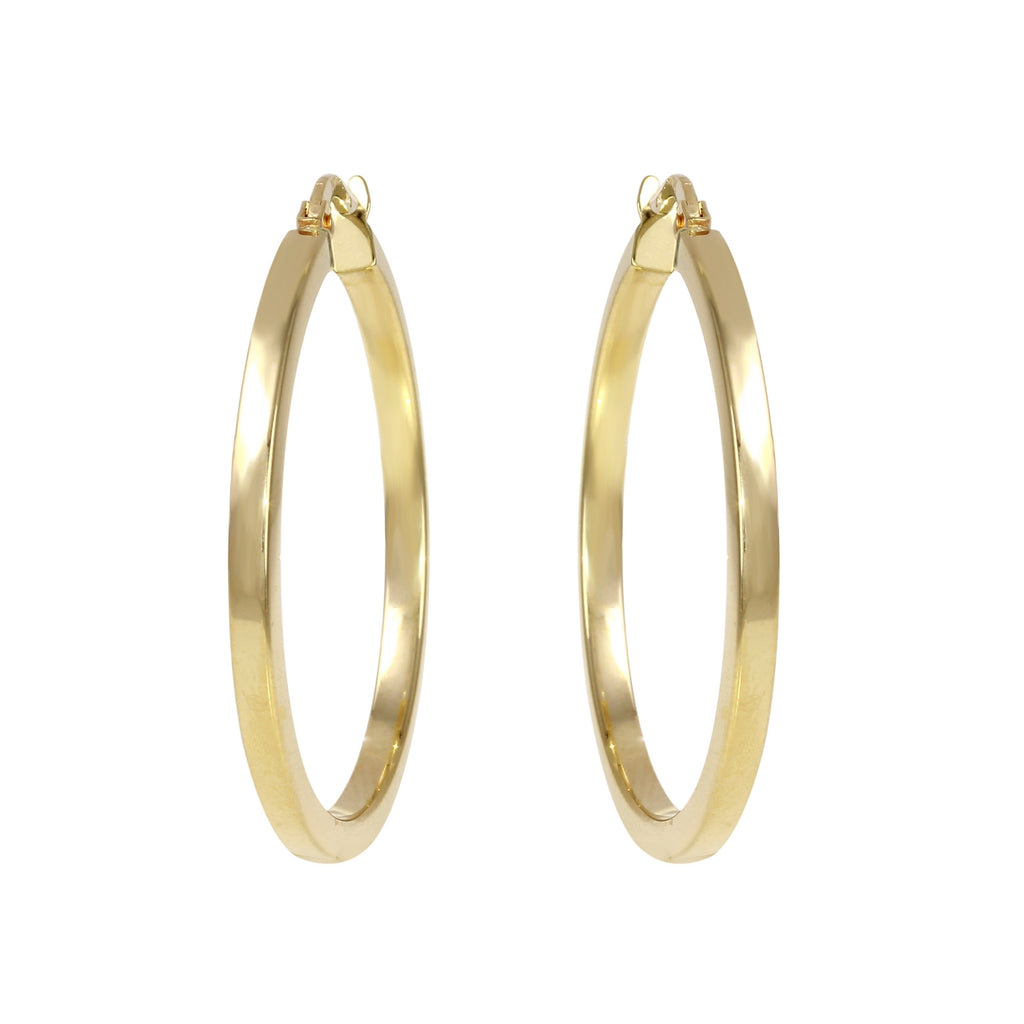 14k Yellow Gold Italian Square Tube Hoop Earrings (25mm Diameter)