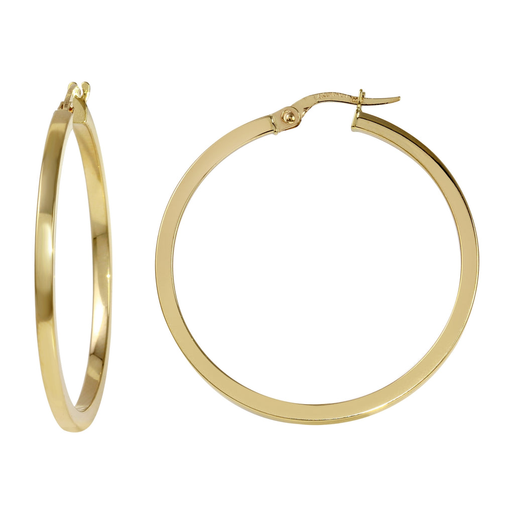 14k Yellow Gold Italian Square Tube Hoop Earrings (30mm Diameter)