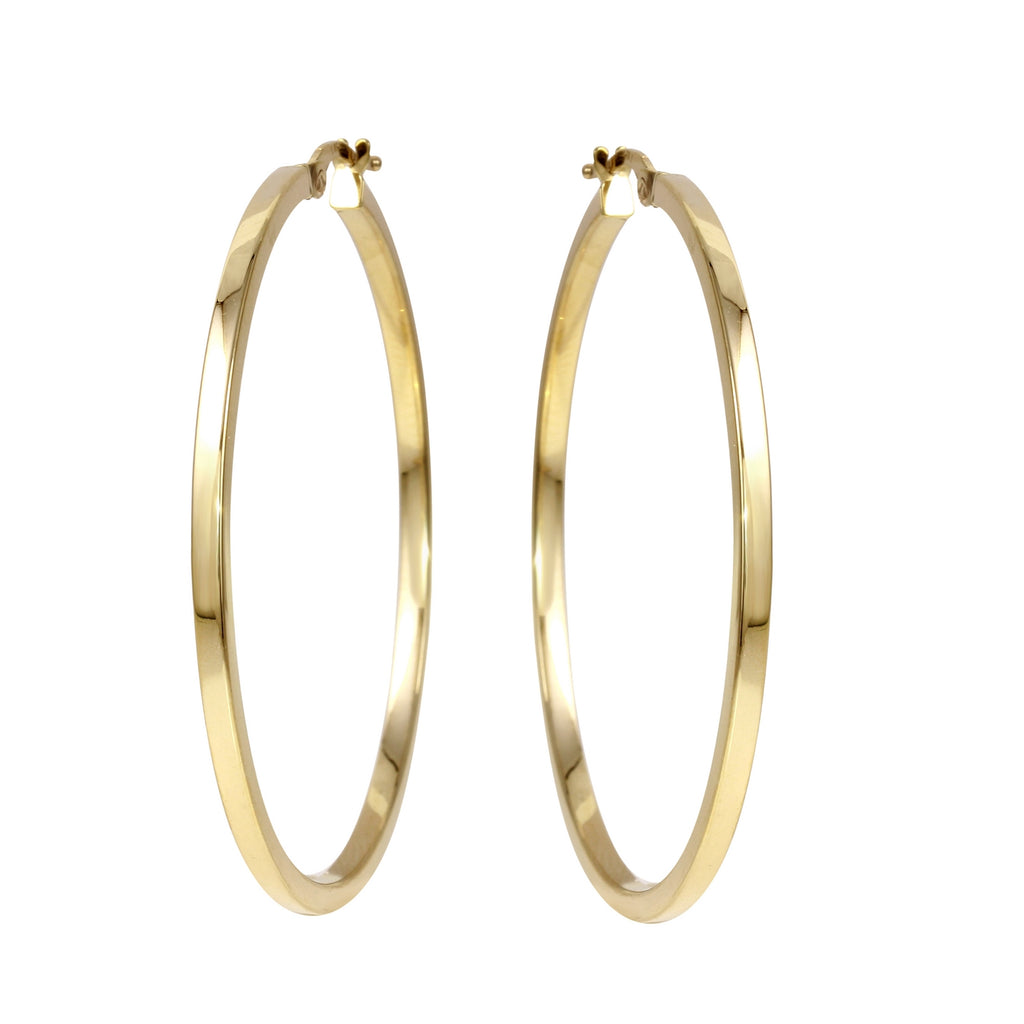 14k Yellow Gold Italian Square Tube Hoop Earrings (40mm Diameter)