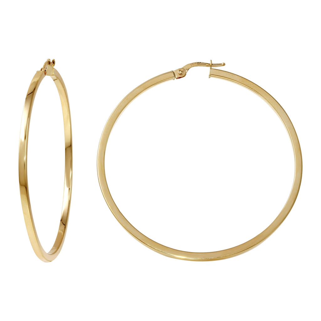 14k Yellow Gold Italian Square Tube Hoop Earrings (45mm Diameter)