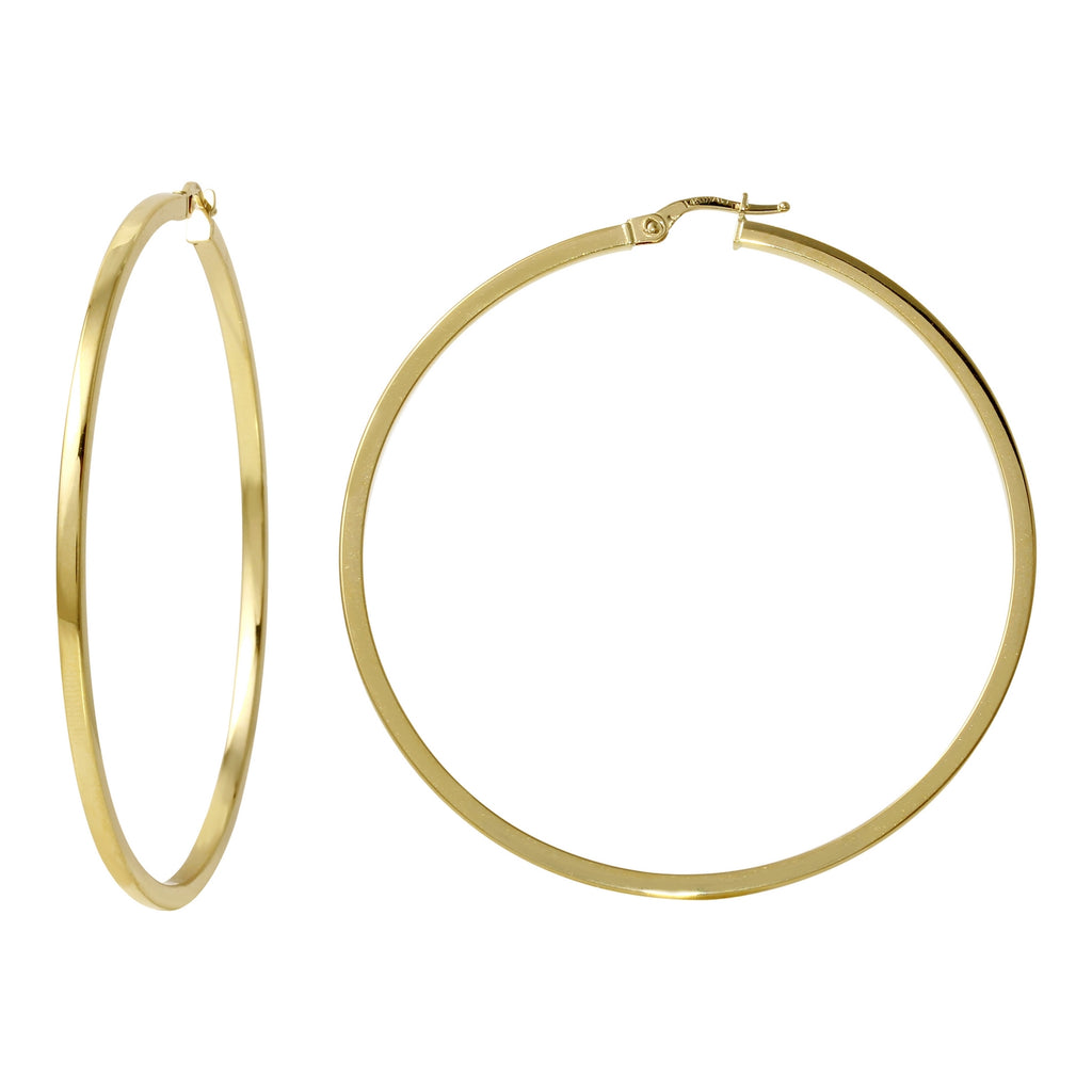 14k Yellow Gold Italian Square Tube Hoop Earrings (50mm Diameter)
