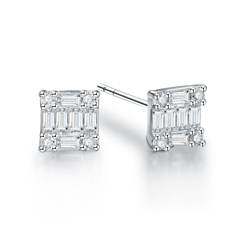 REEMARK™ 18k White Gold Baguette Diamond Channel Stud Earrings (1/4 cttw, I-J Color, I1-I2 Clarity)