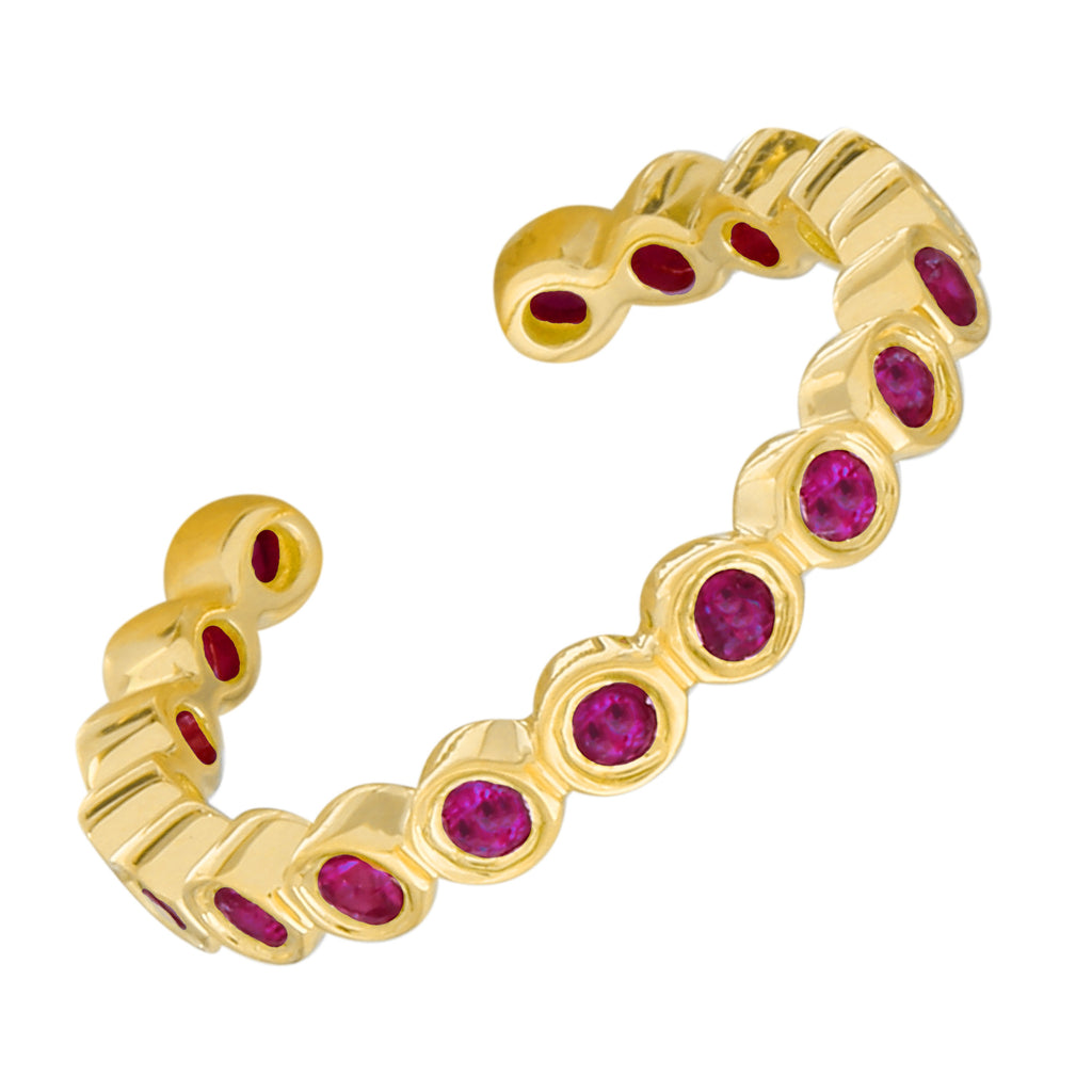 14k Yellow Gold Ruby Bezel Single Ear Cuff (1/10 carat) 13mm