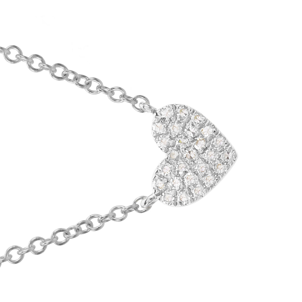 "14k White Gold Diamond Pave Heart Charm Pendant Necklace (0.08 cttw, H-I Color, I1-I2 Clarity), 16+2"" Extender"