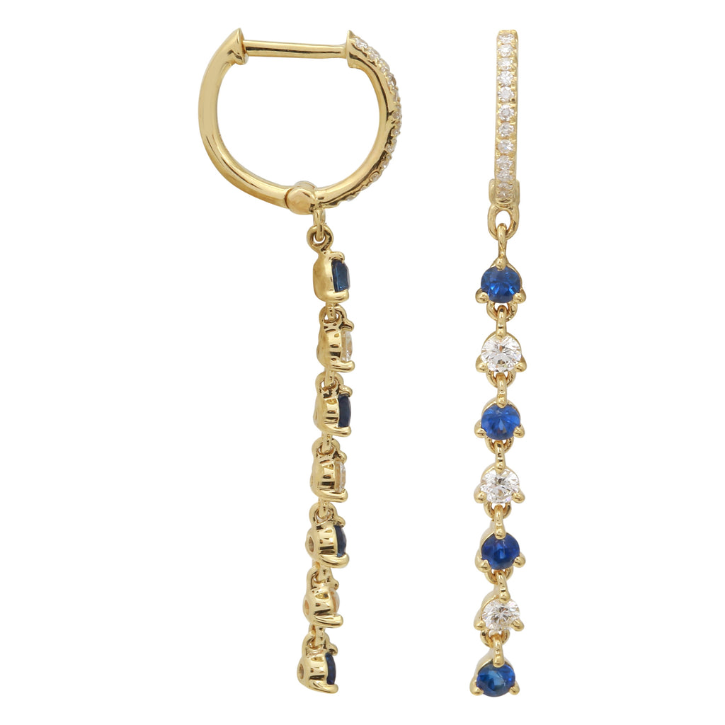 14k Yellow Gold Diamond Sapphire Dangle Huggie Hoop Earrings (1/3 cttw, H-I Color, I2-I3 Clarity), 9.5mm Diameter