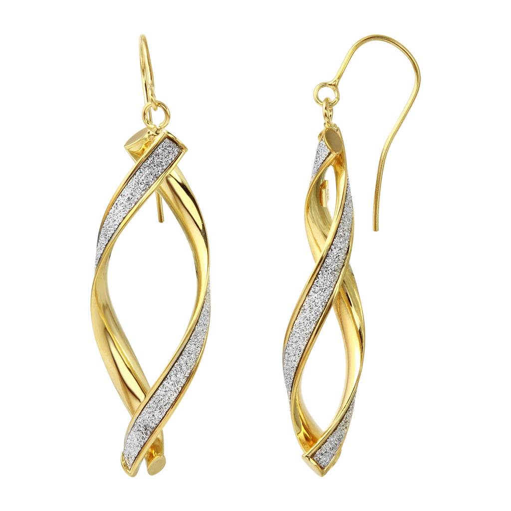 14k Yellow Gold Italian Glitter Dangle Twist Earrings