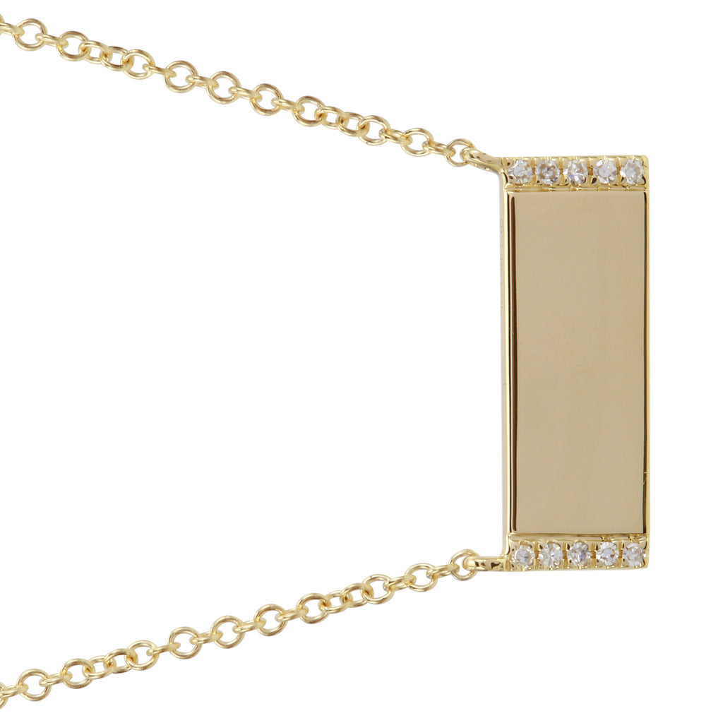 14k Yellow Gold Diamond Engravable Bar Pendant Necklace (0.03 cttw, H-I, I1-I2), 16+2""