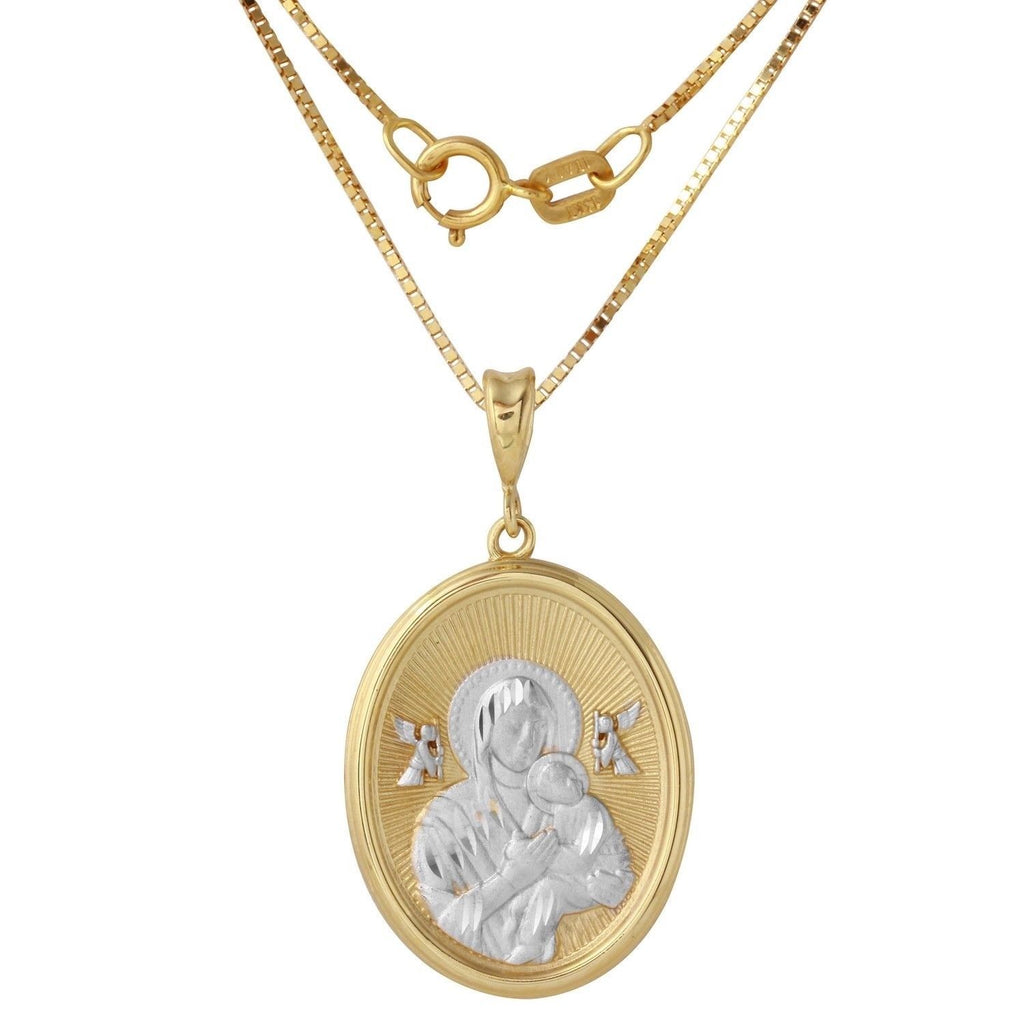 14k Two-Tone Gold Mary Baby Jesus Oval Medal Necklace, 18""