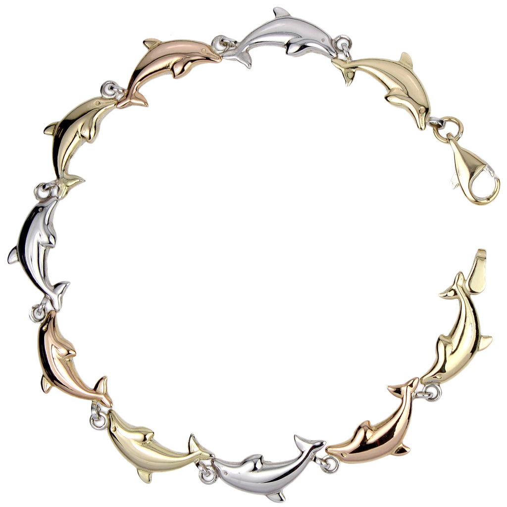 "14k Gold-Bonded Sterling Silver Tri-Color 6.35mm Dolphin Link Bracelet, 7.25"" - Bee Jewels"