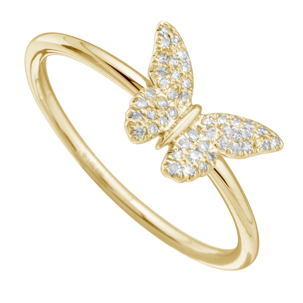 14k Yellow Gold Diamond Pave Butterfly Ring (1/10 cttw, H-I Color, I1-I2 Clarity)