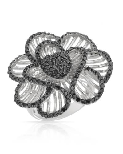 Cocktail Ring 925 CZ Crystal Black Flower