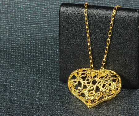 "14k Yellow Gold Italian Fancy Puffy Heart Pendant Necklace, 16+2"" Extender"