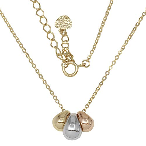 "14k Tri-Color Gold Rain Drops Pendant Necklace, 16+2"" Extender"