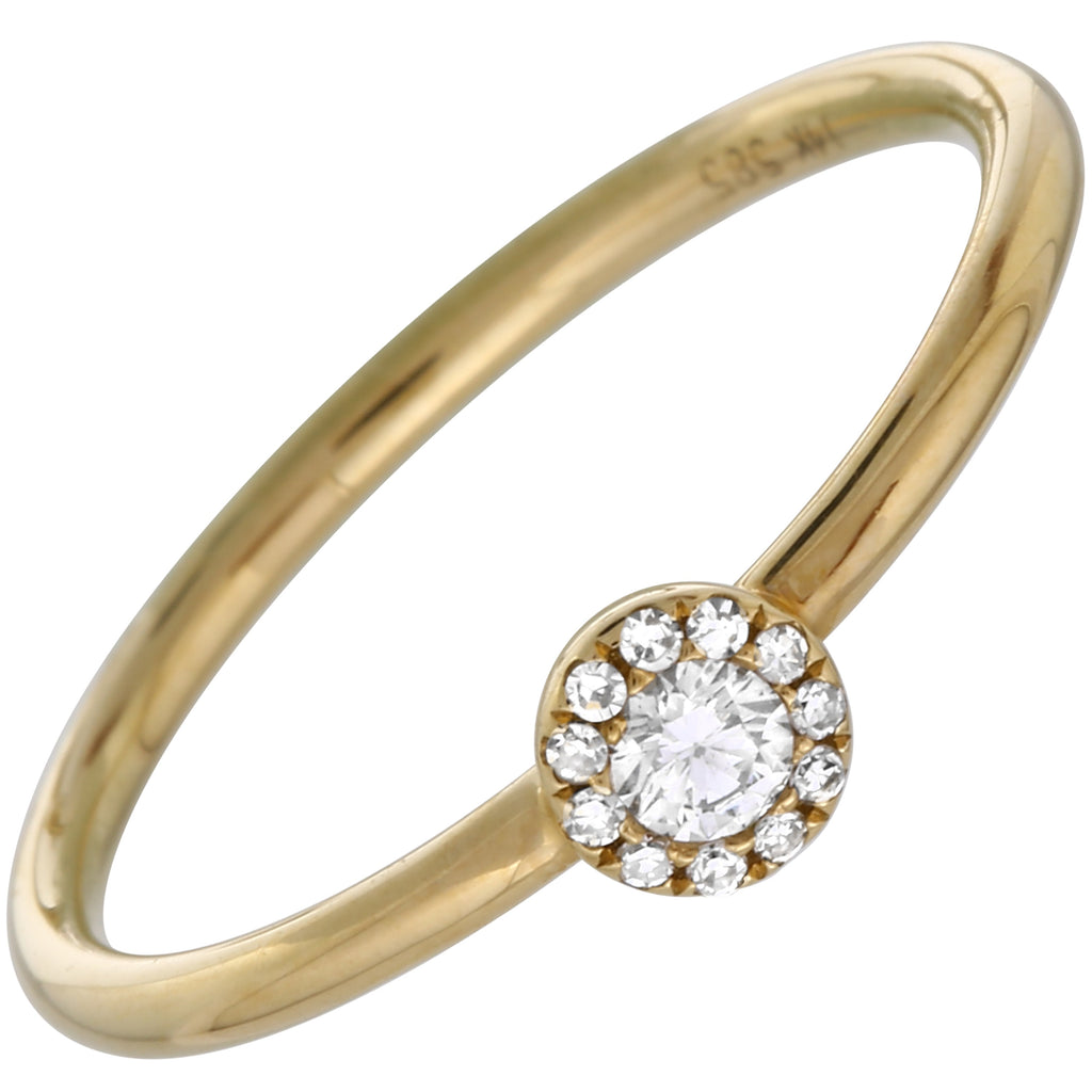 14k Yellow Gold Diamond Pave Halo Ring (1/10 cttw, I-J Color, I1-I2 Clarity)