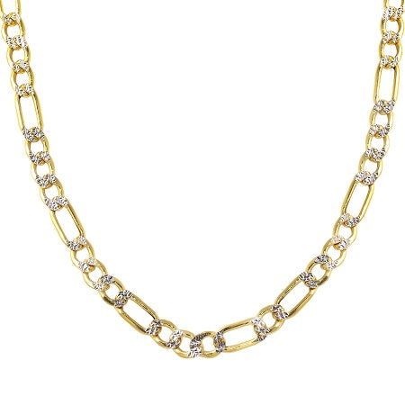 Men's 14k Two-Tone Gold 6.0mm Hollow Figaro White Pave Chain Necklace, 22-26""
