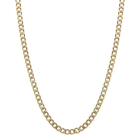 Men's 14k Two-Tone Gold 2.5mm Hollow Cuban Curb White Pave Chain Necklace, 16-24""