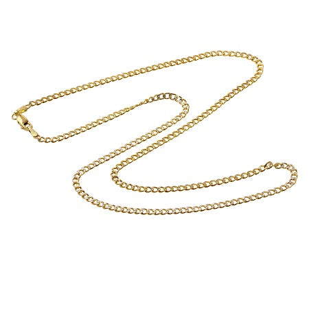 Men's 14k Two-Tone Gold 3.5mm Hollow Cuban Curb White Pave Chain Necklace, 16-24""