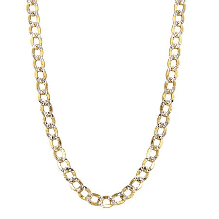 14k Two-Tone Gold 4.5mm Hollow Cuban Curb White Pave Chain Necklace, 18-24""