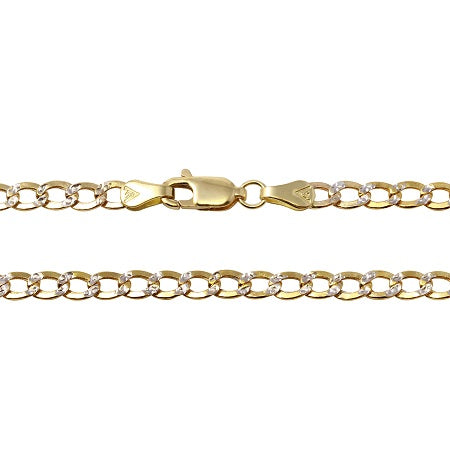 14k Two-Tone Gold 5.2mm Hollow Cuban Curb White Pave Chain Necklace, 20-26""