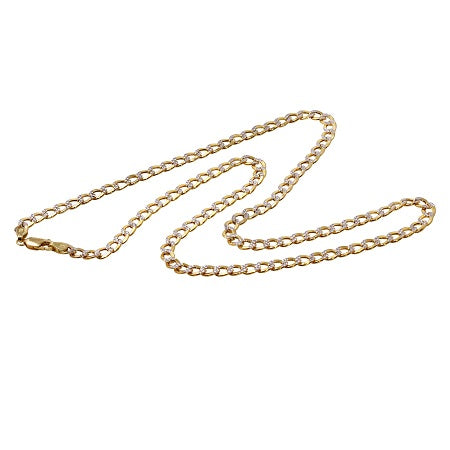 Men's 14k Two-Tone Gold 6.5mm Hollow Cuban Curb White Pave Chain Necklace, 20-26""