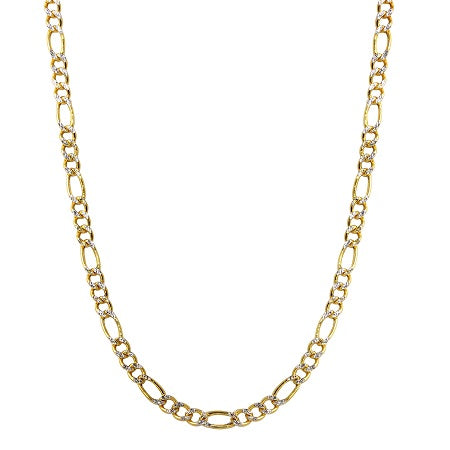 14k Two-Tone Gold 4.0mm Hollow Figaro White Pave Chain Necklace, 18-26""