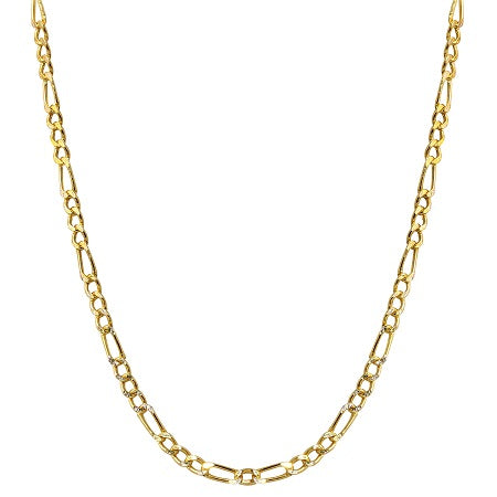 14k Two-Tone Gold 3.2mm Hollow Figaro White Pave Chain Necklace, 16-24""
