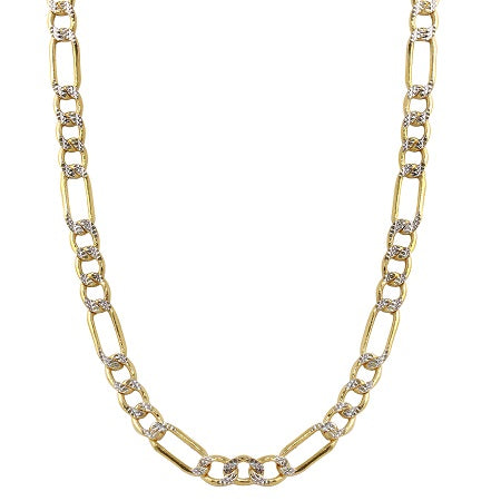 Men's 14k Two-Tone Gold 5.0mm Hollow Figaro White Pave Chain Necklace, 22-26""