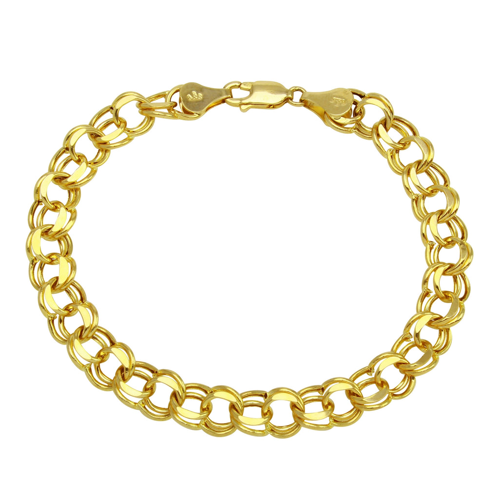 "14K Gold 7mm Charm Bracelet for Charms, 7.25"" - Bee Jewels"