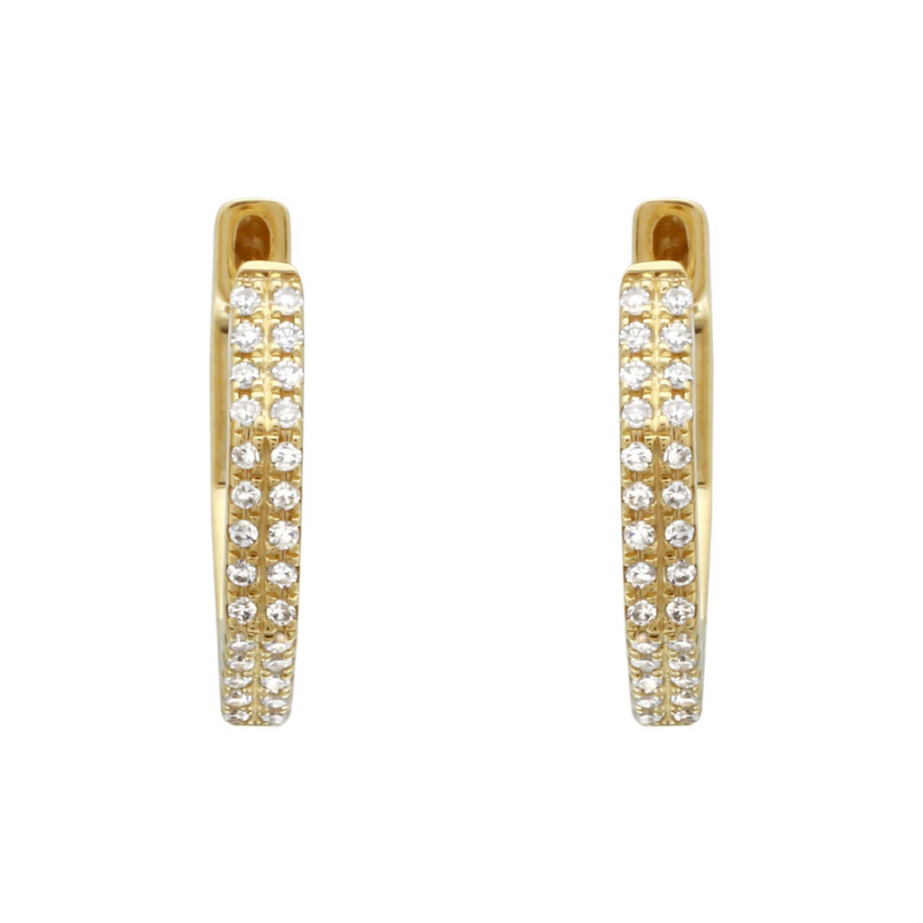 14k Yellow Gold Diamond Octagon Hoop Earrings (1/10 cttw, I-J Color, I2-I3 Clarity) 12.5mm Diameter