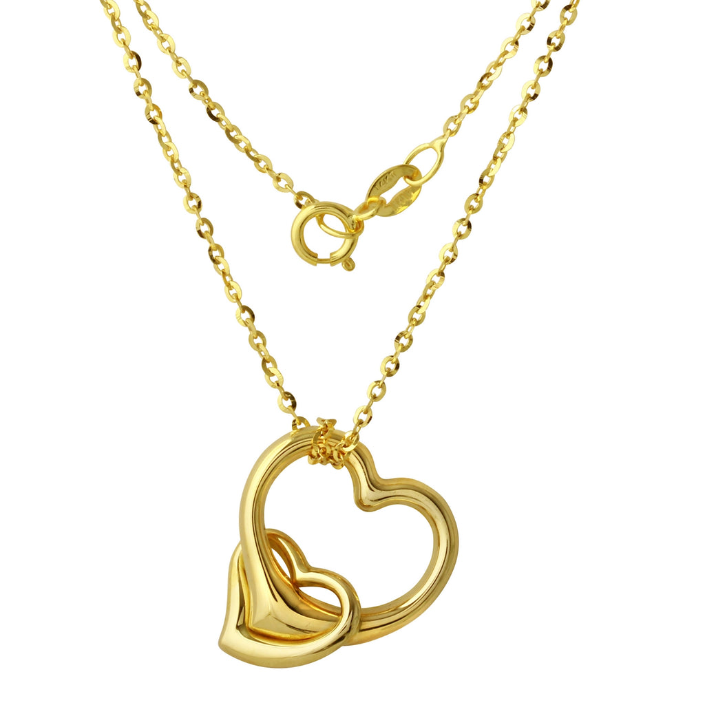 14k Gold Double Heart Pendant Necklace, 16""