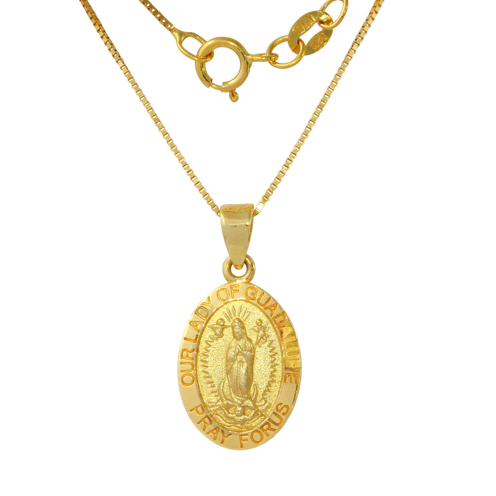 14k Yellow Gold Our Lady of Guadalupe Oval Pendant Necklace, 18""