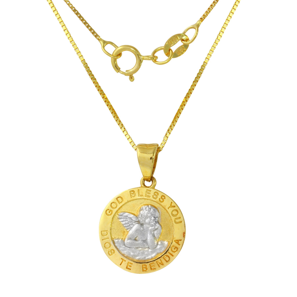 "14k Two-Tone Gold ""God Bless You"" Angel Pendant Necklace, 18"""