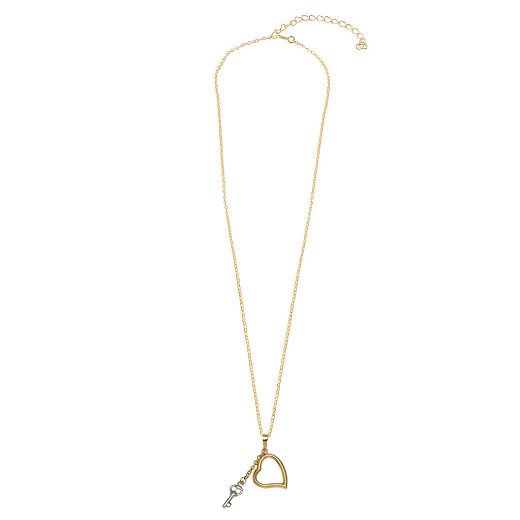 14k Two-Tone Gold Dangling Key Heart Pendant Necklace, 18""